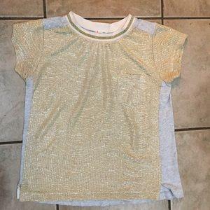 Crewcuts Gold Gray Metallic T Shirt Top fits 12